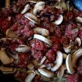ajouter champignons et viande quand oignon parait cuit