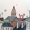 Amelie Biggs_toits de Paris (crayon de couleur+encre)