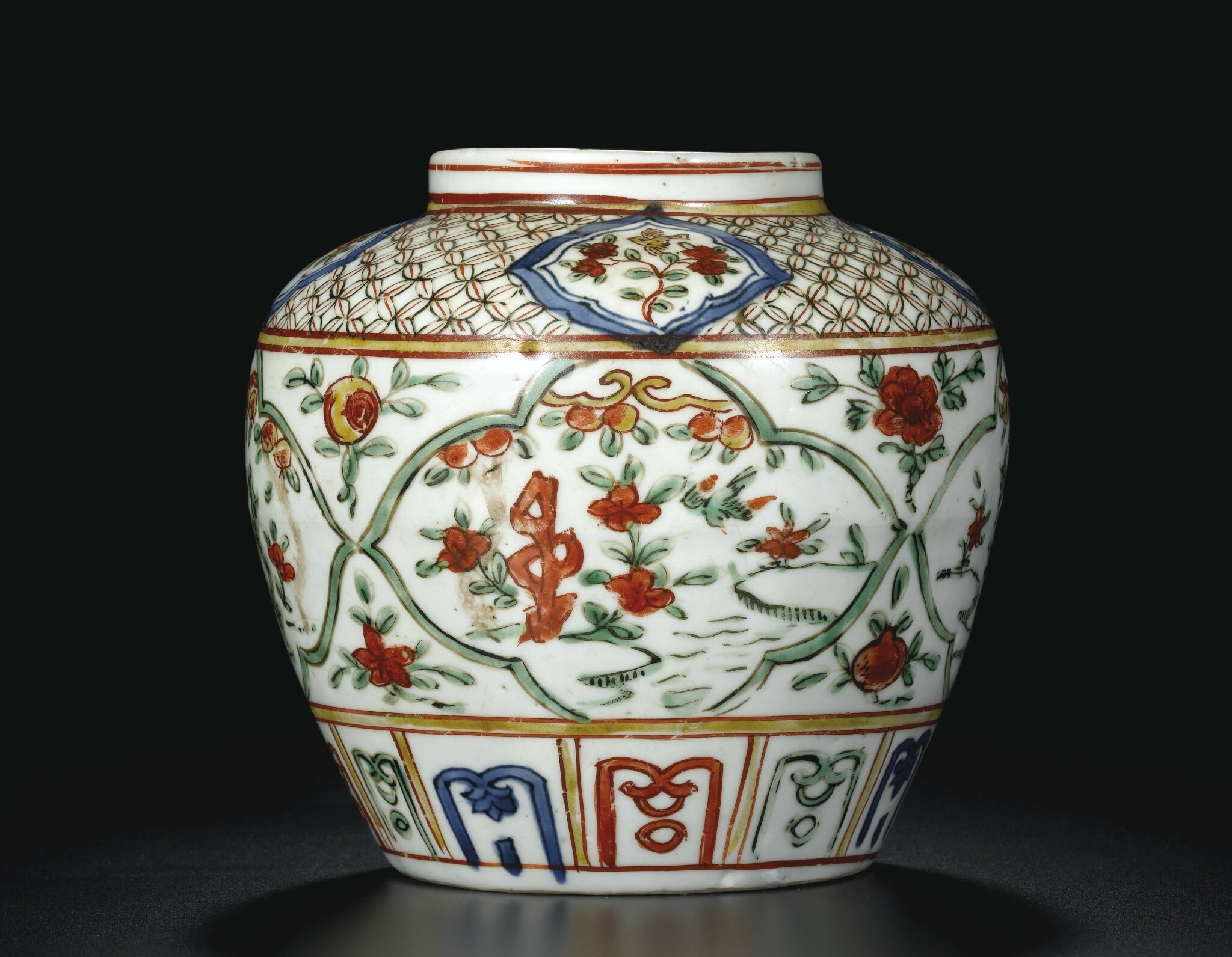 A Wucai 'Birds and Flowers' jar