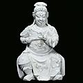 Blanc de chine porcelain guandi, china, ming dynasty, wanli period (1573-1620)