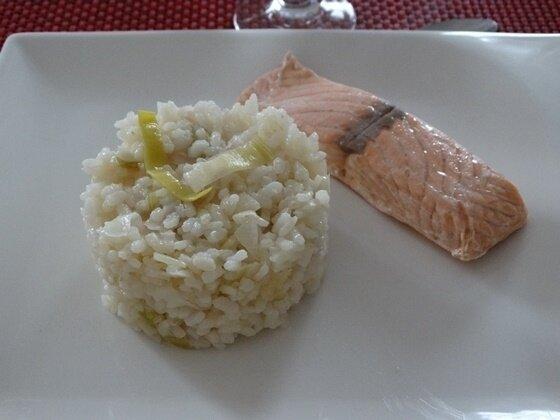 risotto saumon et poireau