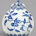 A fine blue and white ming-style 'persimmon' moonflask, qing dynasty, yongzheng period (1723-1735)