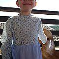 Rachel Farbenmix 5-6ans piqué bleu & fleurs bleues 7