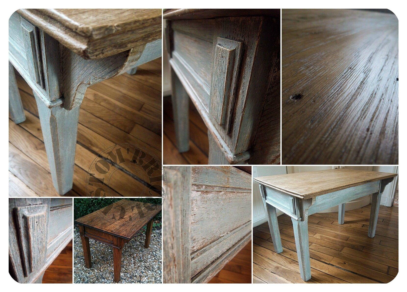 Gustavien Bricol' Bleu Basse Boutique Table Patine Custom' 0vmNwn8O
