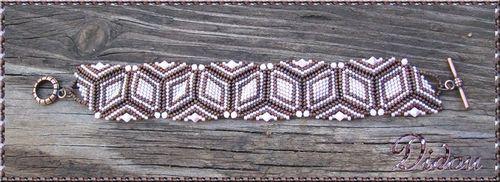Bracelet triangles rose et chocolat