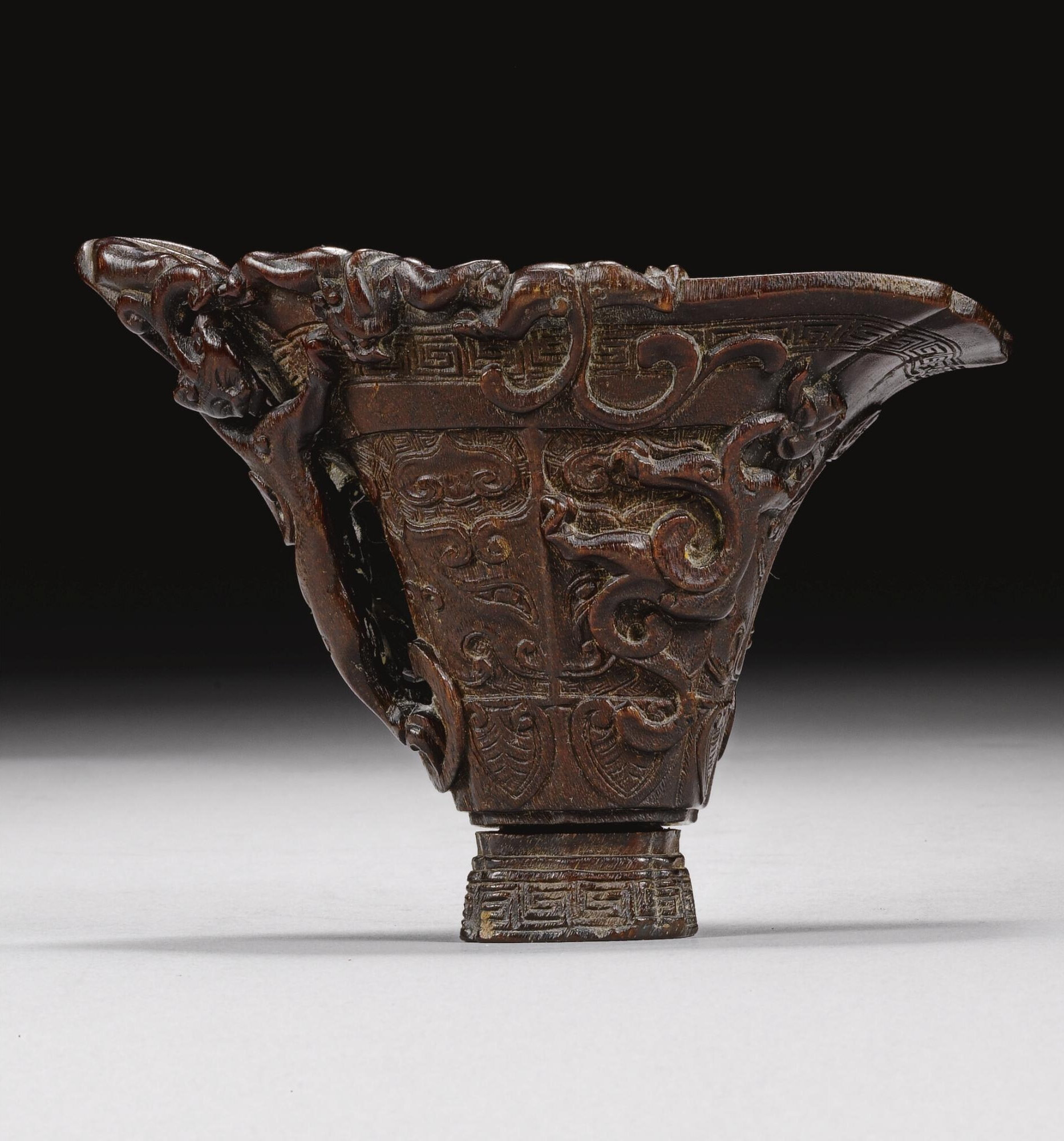 A rhino horn libation cup, 17th-18th century