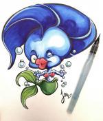 Aquarelle Sirène Poisson d'avril Jeem-Créations