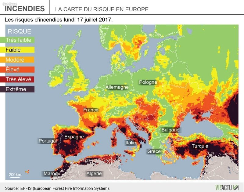 carte du risque en Europe