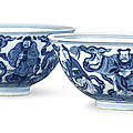 A pair of blue and white 'immortals' bowls, seal marks and period of daoguang (1821-1850)