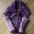 écharpe et mitaines chauffe-poignets, laine Sport et autre..., modèle Tendance tricot