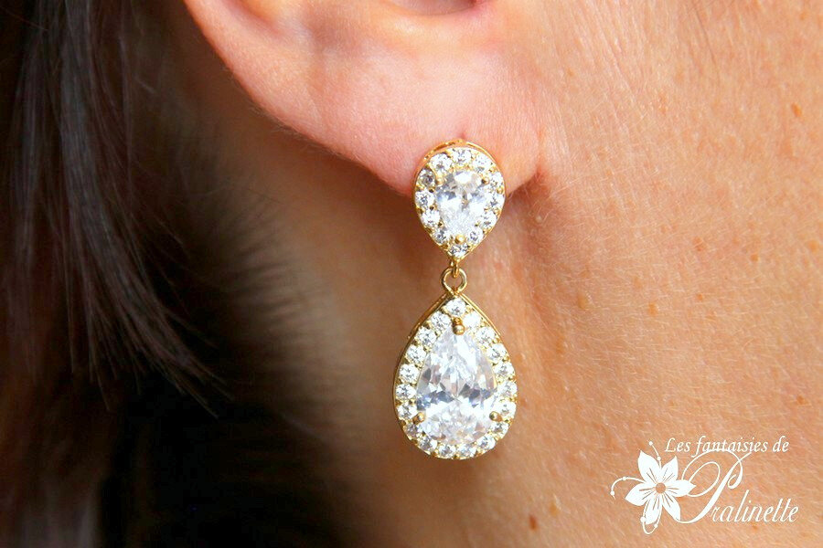 bijoux-mariage-boucles-d-oreilles-cristal-zircon-gouttes-pendantes-dorées
