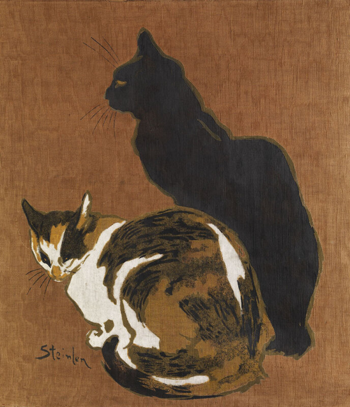 1894 Théophile Alexandre Steinlen Two Cats Pochoir (stencil) on silk 61