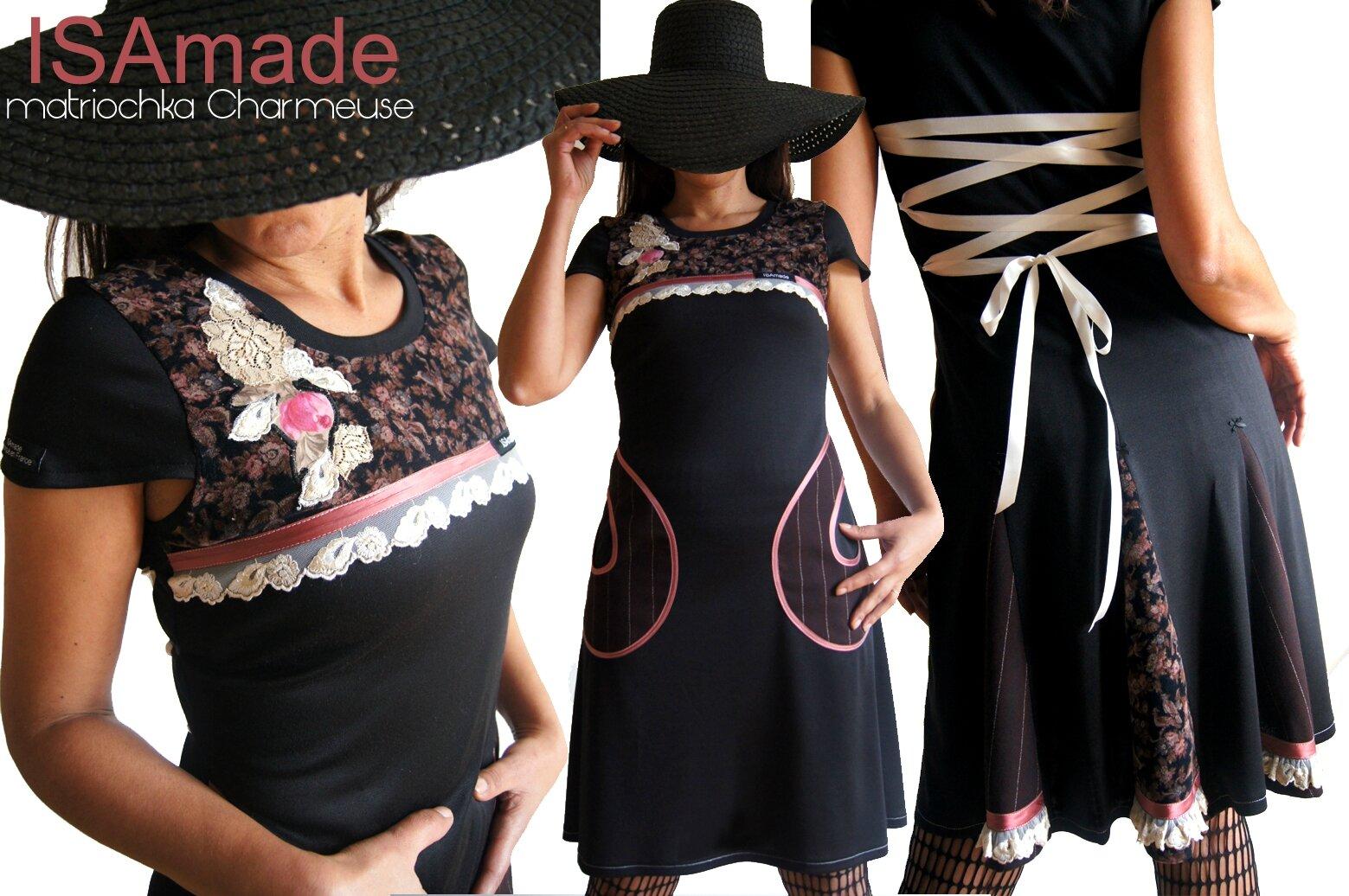 Robe Féminine Fantaisie et Originale Noire Rose et marron & dentelle crème brodée sur résille et Imprimé fleurs et rayures
