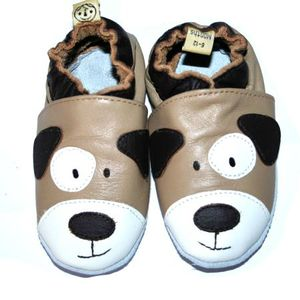 chaussons-bebe-cuir-souples-chien