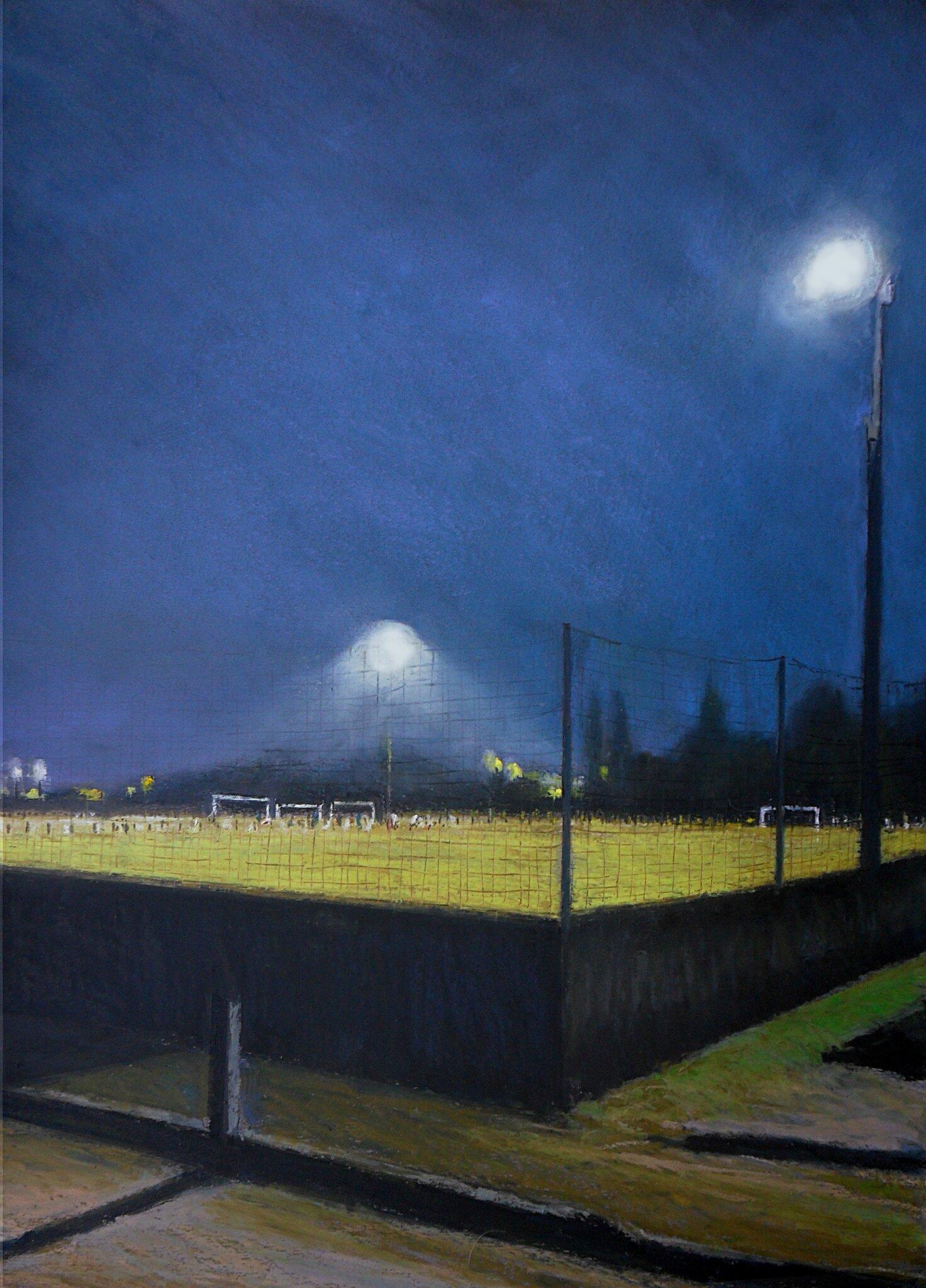 K'nowhere #25, le stade de foot, 2014, pastel à l'huile.