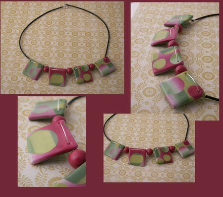 Collier carrés avec rondsverts roses