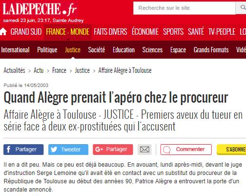 Quand Alègre prenait l'apéro chez le procureur - 14_05_2003 - ladepeche