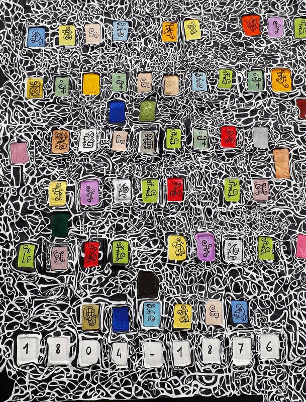 ©Hervé THAREL BLOCK'S BOARD 03 bonheur 2018 - Acrylique et T7 sur plastiroc et toile 70x50cm 4