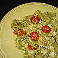 Pâtes au pesto et aux tomates cerise
