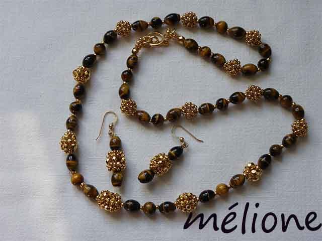 collier oeil de tigre et perles perlées