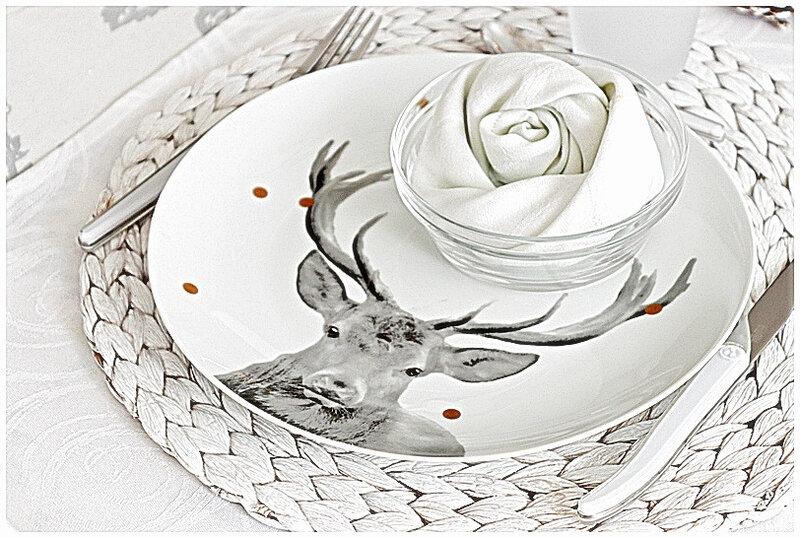 table-becquet-animaux-foret-champignons-décoration-assiette-verre