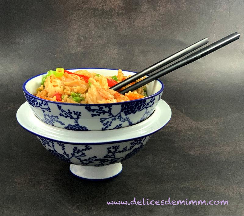 Wok de crevettes à la cantonaise