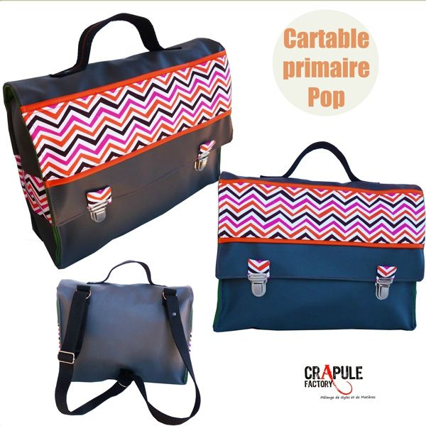 cartable-primaire-original- gris et bande zig zag multicolor presentation 600 6002