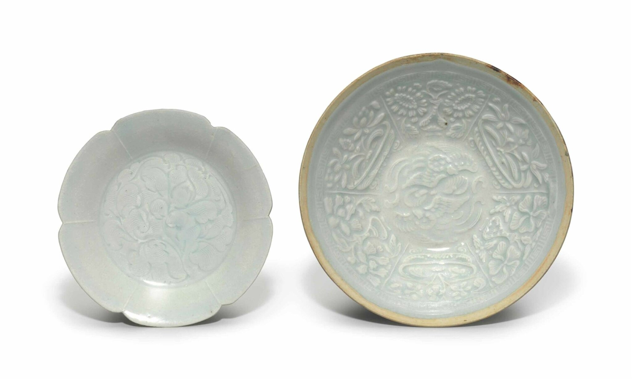 A Qingbai carved petal-lobed dish, Southern Song Dynasty (1127-1279)