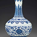 A fine ming-style blue and white bottle vase, daoguang seal mark in underglaze blue and of the period (1821-1850)