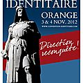 Convention identitaire à orange les 3 et 4 novembre 2012