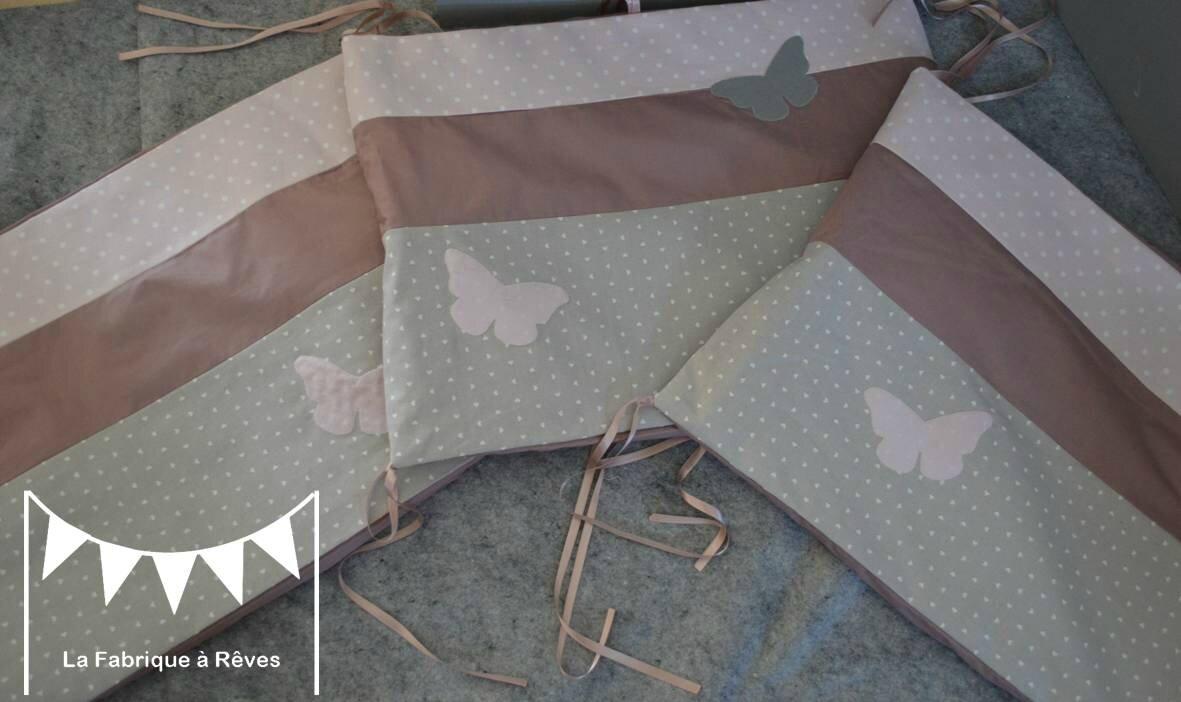 tour de lit bébé 60 x 180 cms coton rose poudré à pois coton gris à pois blanc percale de soie vieux rose - appliqués papillons