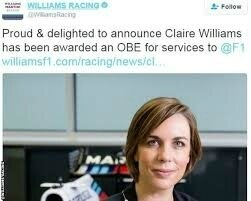 claire williams obe 2018