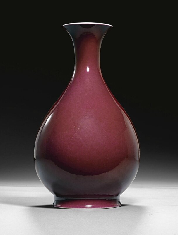 A ruby enamelled vase, yuhuchunping, Qianlong seal mark and period (1736-1795), enamels possibly later