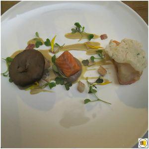 Hamachi et saumon mi-cuits, anguille fumée, shiitake mi-séché, vinaigrette de shiitake (1)