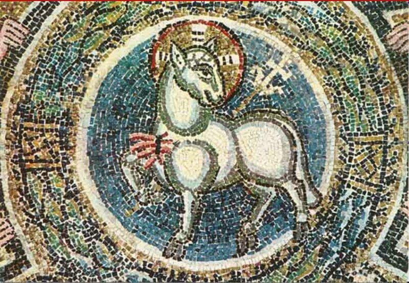 Agneau Pascal, mosaïque deTorcello près de Venise