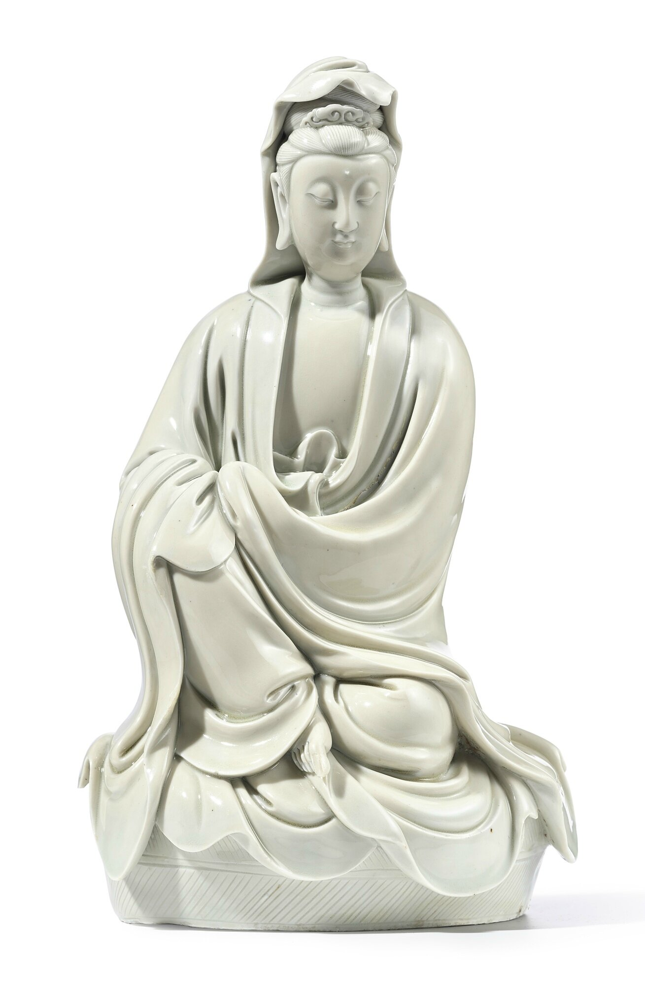 A Dehua figure of Guanyin, signed He Chaozong, late Ming dynasty