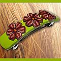 Barrette anis avec fleurs marron