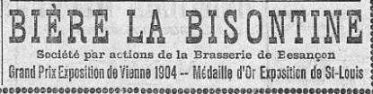 Bière Bisontine pub juin 1906