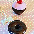 cupcake fraise et doughnut choco