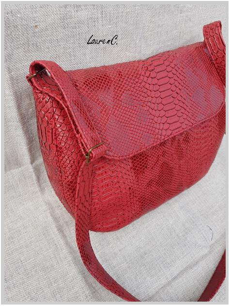 SAC SIMILI DRAGON ROUGE RABAT BANDOULIERE COTE