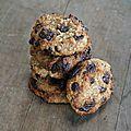 Biscuits moelleux à la banane, à l'avoine, à l'amande et au chocolat