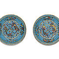 A pair of cloisonné enamel dishes, ming dynasty, late 16th century