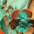 Collier tortillons et fleurs, turquoise et marron en fimo, rocaille et fil de fer (vue 3