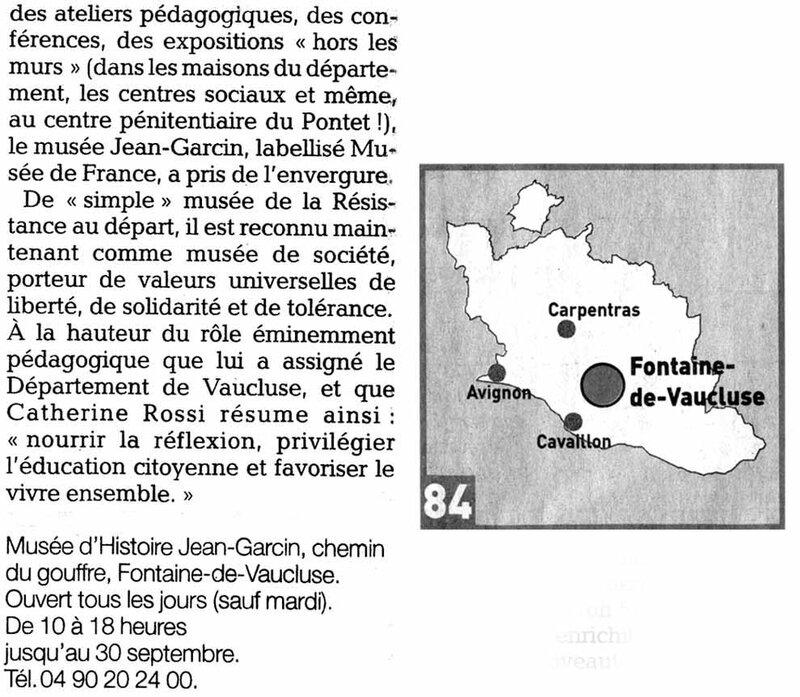 Le Vaucluse Matin du 12 août 2015