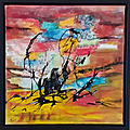Monstres du vent, acryl, pastel, encre 2013, 40X40cm, ND(n°40) cadre noir