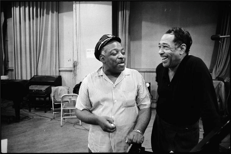 Count Basie and Duke Ellington during the sessions for their album, First Tme! The Count Meets The Duke at Columbia's 30th Street Studio in New York on July 6, 1961