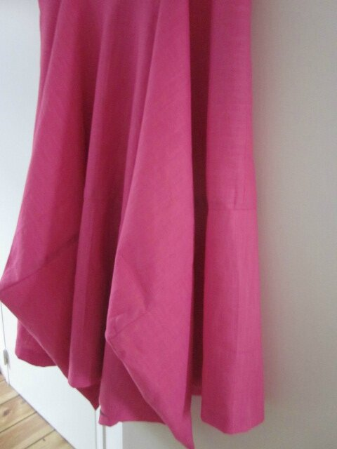 Robe EULALIE en lin rose tyrien - taille 50 (1)