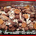 Poulet aux marrons, boudins blancs et abricots