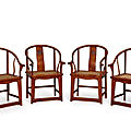 A rare set of four huanghuali horseshoe-back armchairs, quanyi, ming dynasty, 17th century