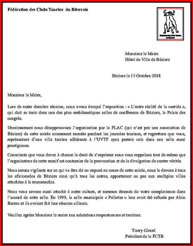 Fédération Des Clubs Taurins Monsieur le maire de Béziers